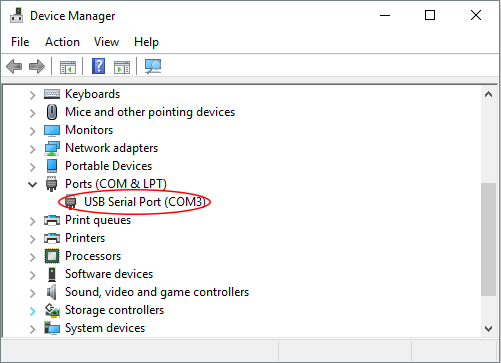 Device Manager COM Port