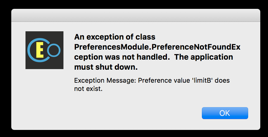 preference exception error