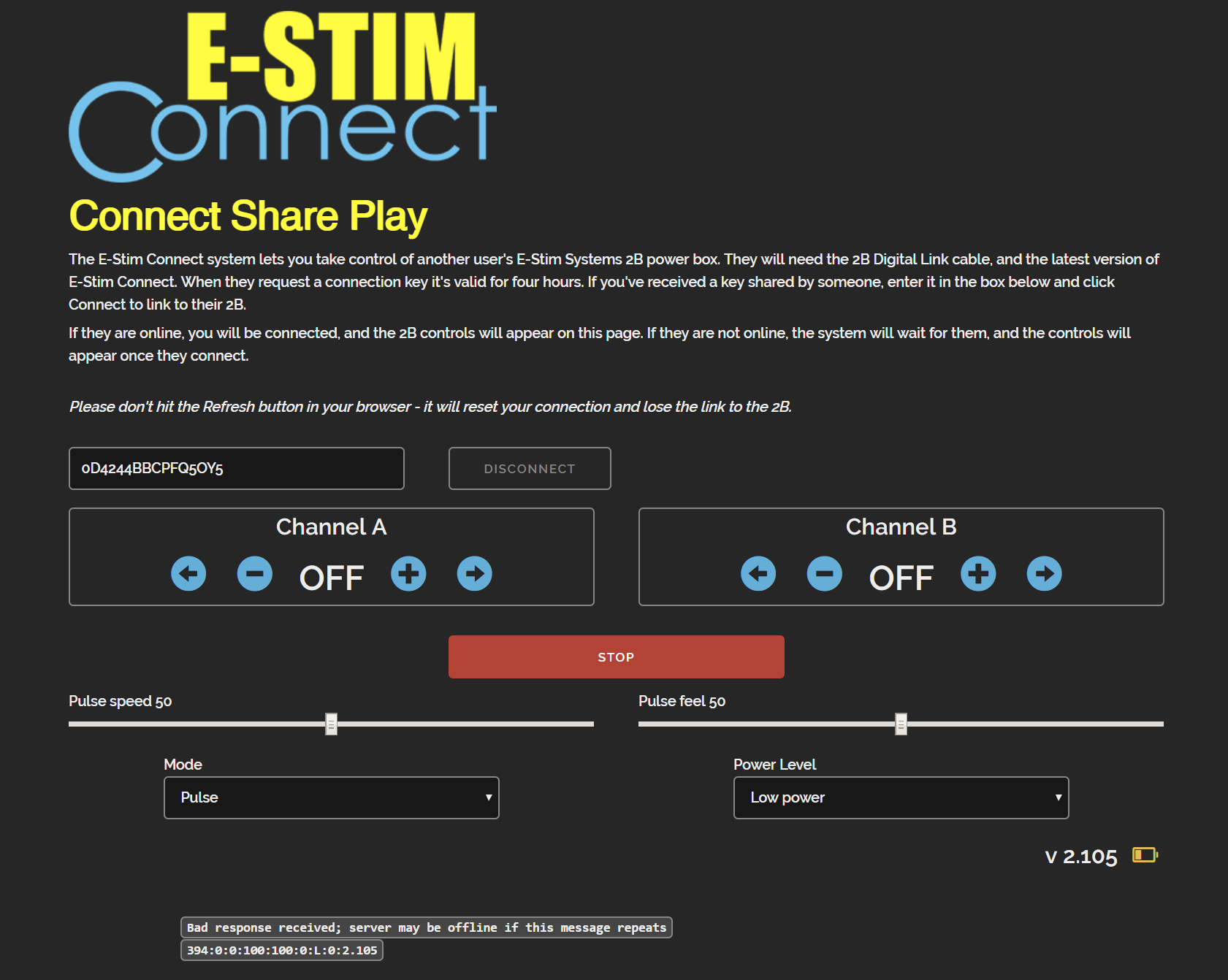 E-Stim Connect main screen