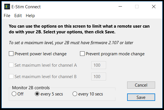 E-Stim Connect Preferences screen
